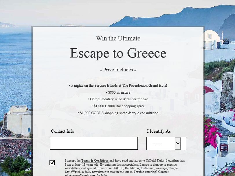 COOLS Win the Ultimate Escape to Greece Sweepstakes