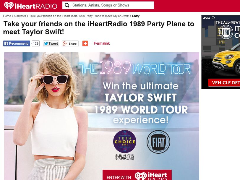 iHeartRadio Taylor Swift 1989 Party Plane Sweepstakes