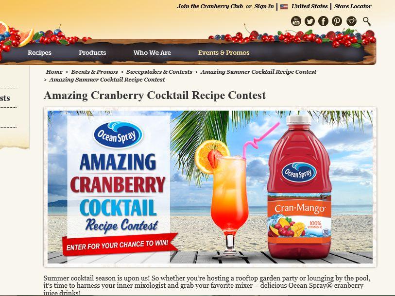 The Ocean Spray Amazing Cranberry Cocktail Recipe Contest