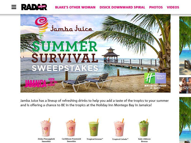 Jamba Juice Summer Survival Sweepstakes