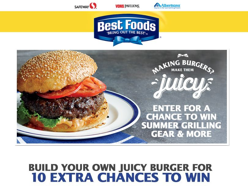 The Safeway and Best Foods Build Your Juicy Burger Sweepstakes