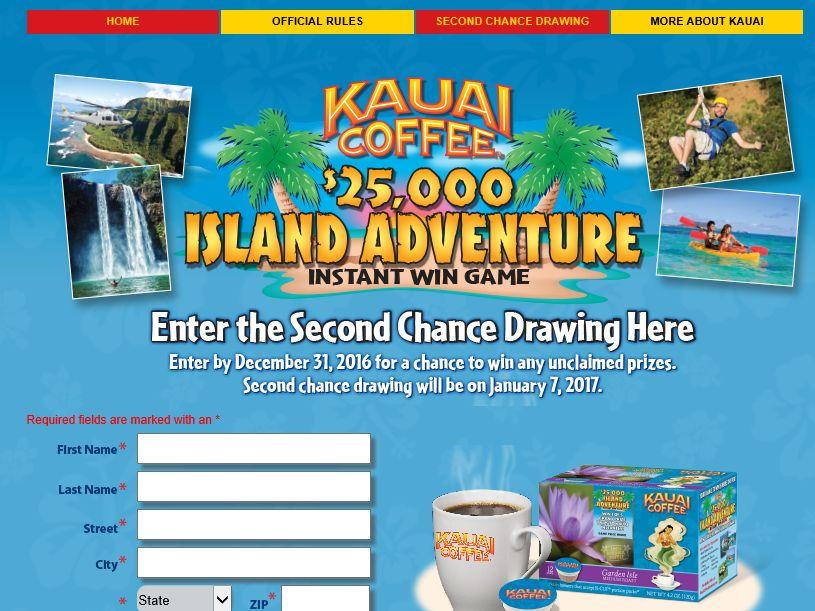 "Kauai Coffee ""$25,000 Island Adventure"" Instant Win Sweepstakes"