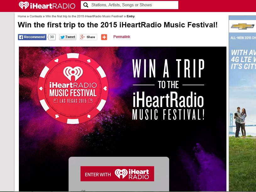 2015 iHeartRadio Music Festival In App Sweepstakes