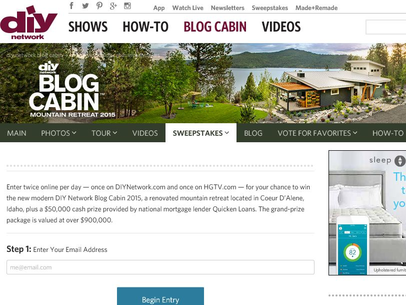 DIY Network Blog Cabin Sweepstakes