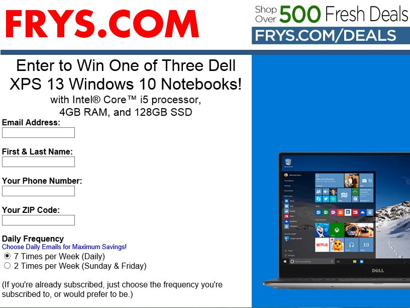 Fry's Electronics, Inc. Windows 10 & Dell Sweepstakes