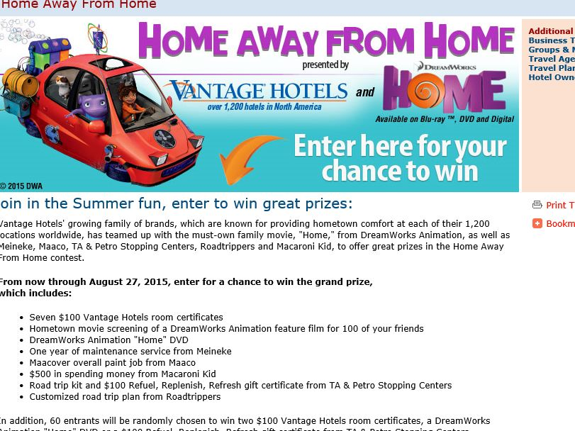 "The Vantage Hospitality Group, Inc. ""Home Away From Home"" Promotion"