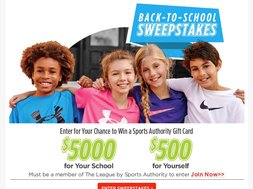 Sports Authority Back to School Sweepstakes