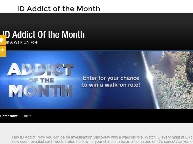 "The Investigation Discovery ""Addict of the Month"" Win a Walk-On Role Sweepstakes"