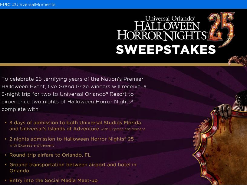 The Halloween Horror Nights 25 Sweepstakes