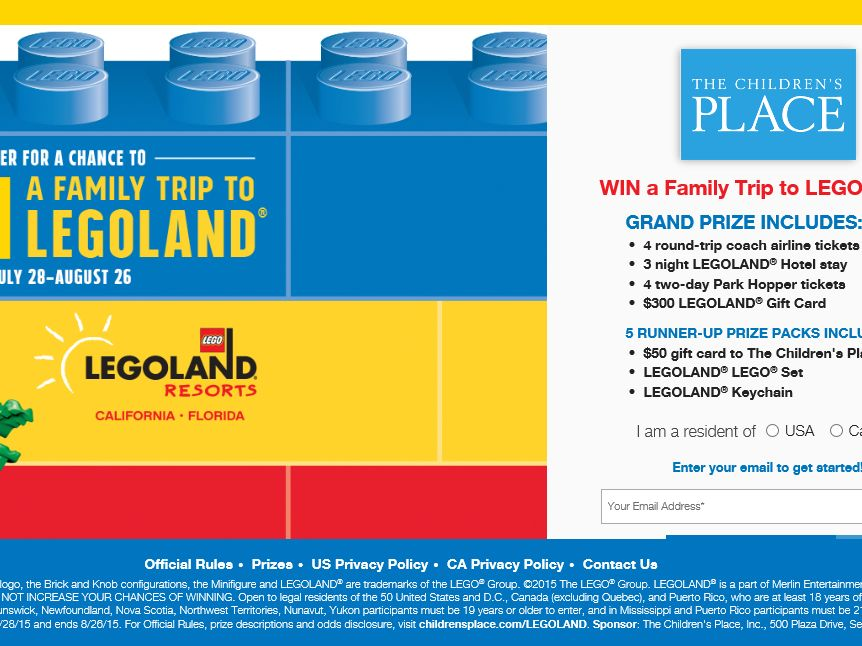 The Children's Place & LEGOLAND: 30 Days of Awesome Sweepstakes