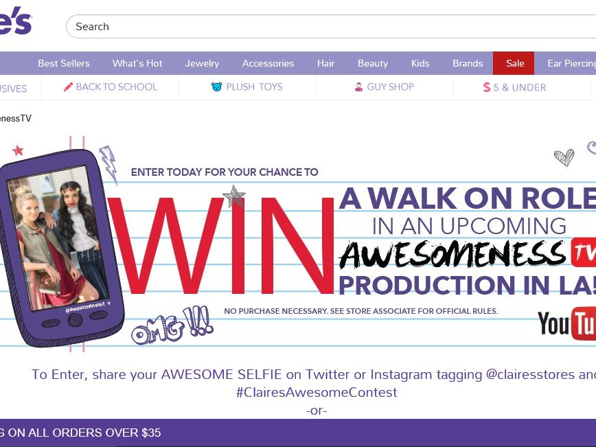Claire's Awesomeness TV Sweepstakes