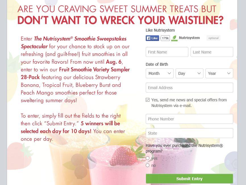 Nutrisystem Smoothie Sweepstakes