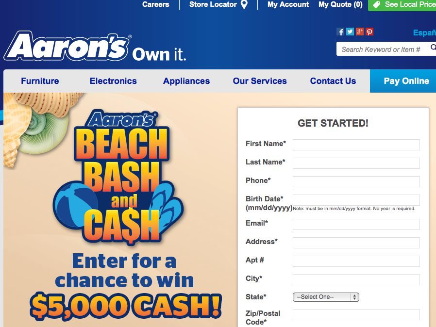 Aaron's Beach Bash and Cash Sweepstakes