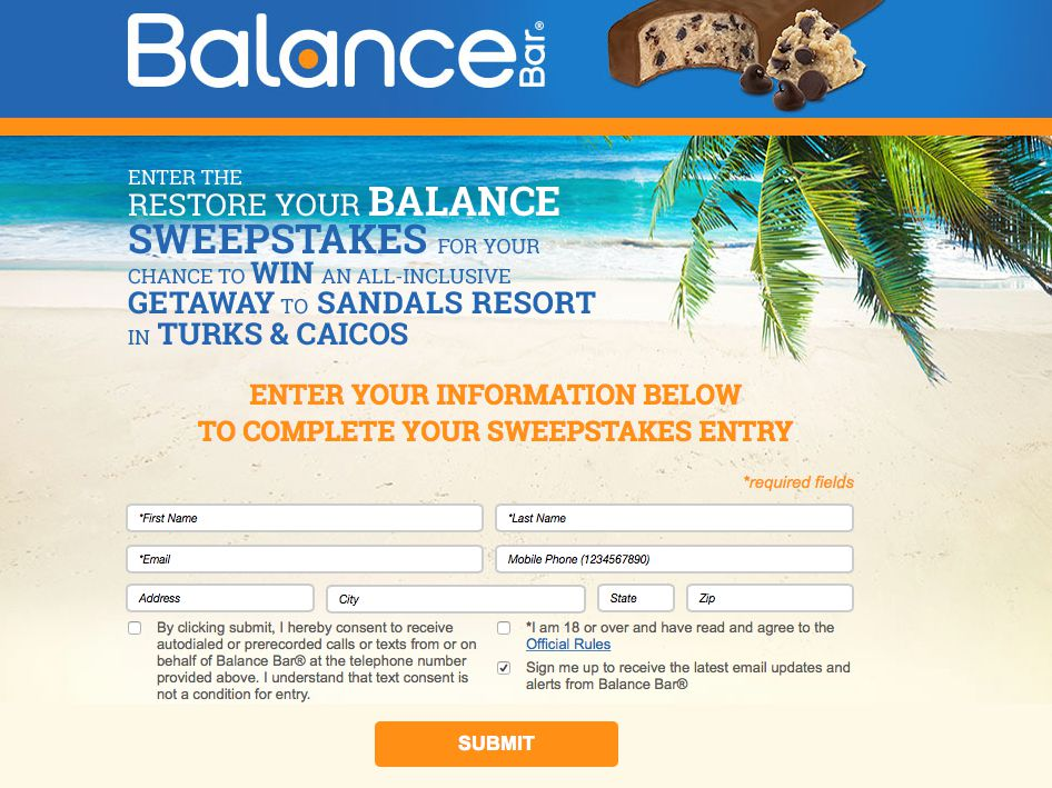Balance Bar Restore Your Balance Sweepstakes
