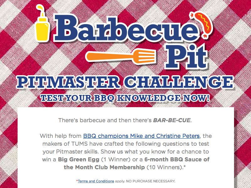 TUMS Pitmaster Challenge Sweepstakes