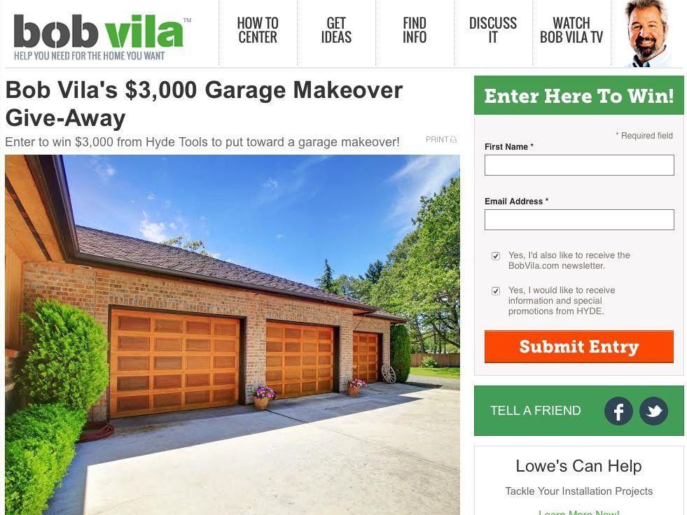 Bob Vila's $3,000 Garage Makeover Giveaway