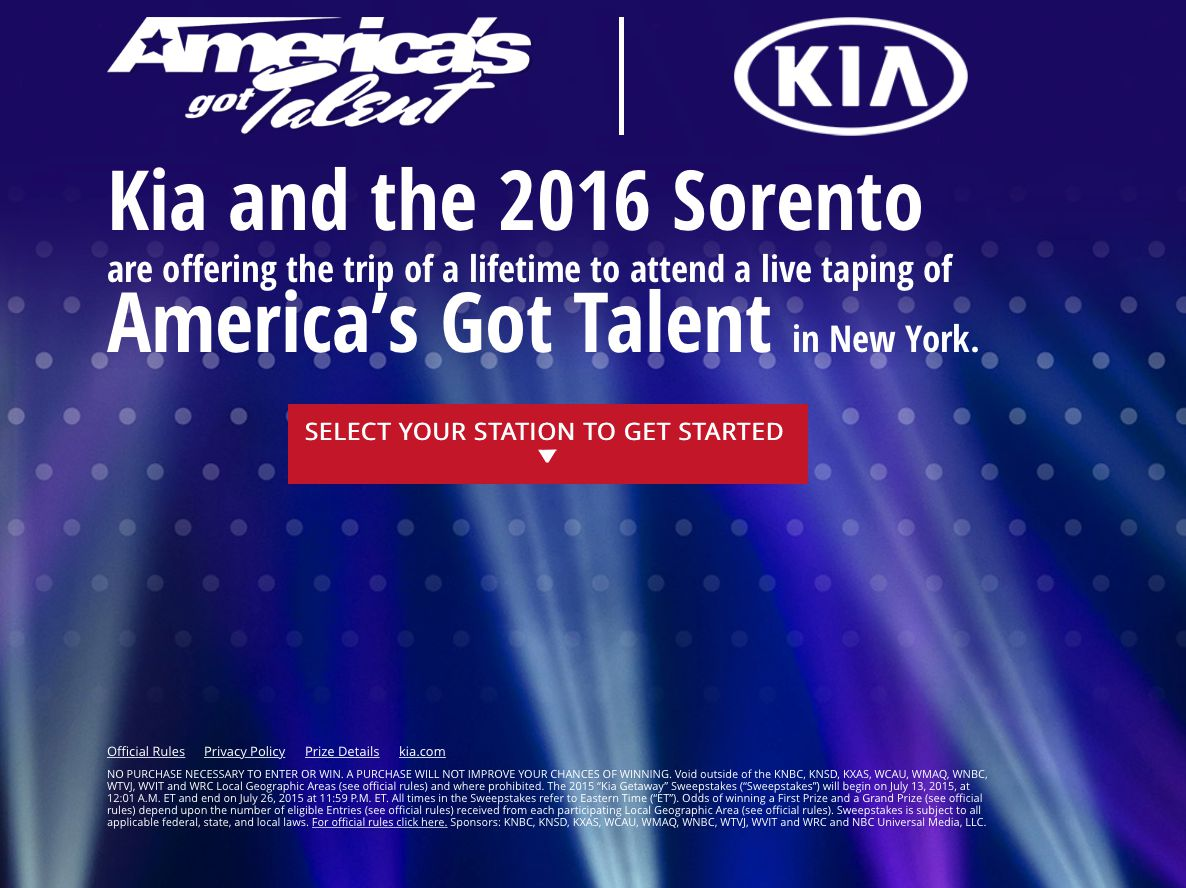 "2015 ""KIA Getaway"" Sweepstakes (Limited Counties)"