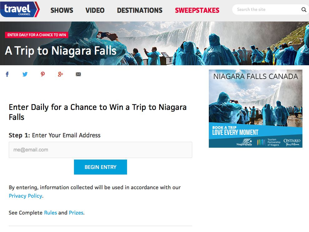 Niagara Falls Sweepstakes July 2015 from Travel Channel