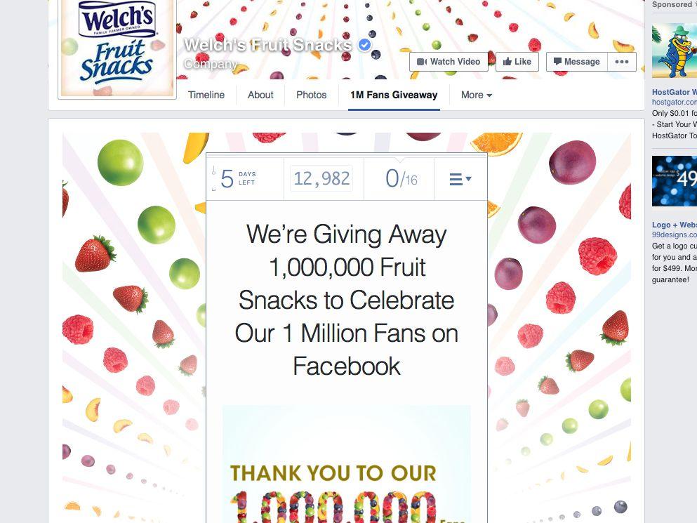 Welch's® Fruit Snacks 1 Million Fruit Snacks Giveaway