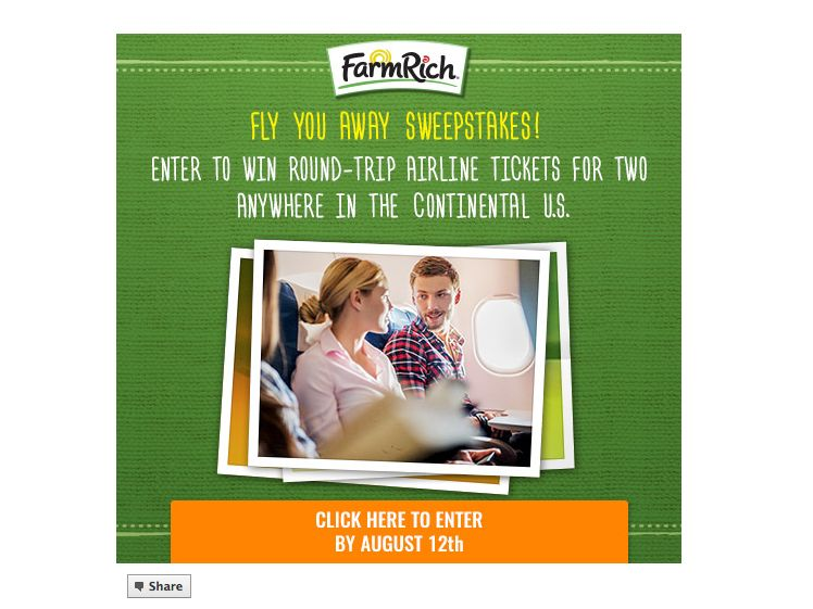 Farm Rich Fly You Away Sweepstakes