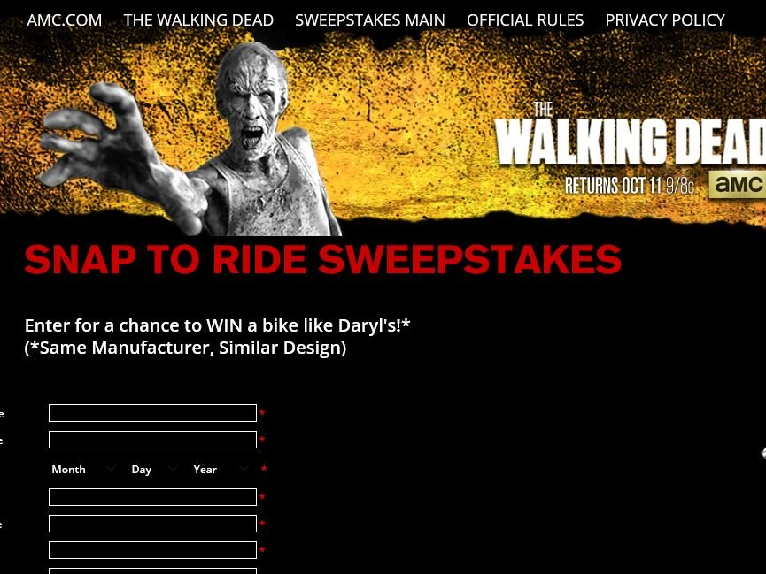 The Walking Dead's Snap to Ride Sweepstakes