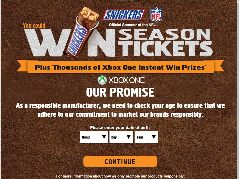 SNICKERS BRAND NFL 2015 Sweepstakes