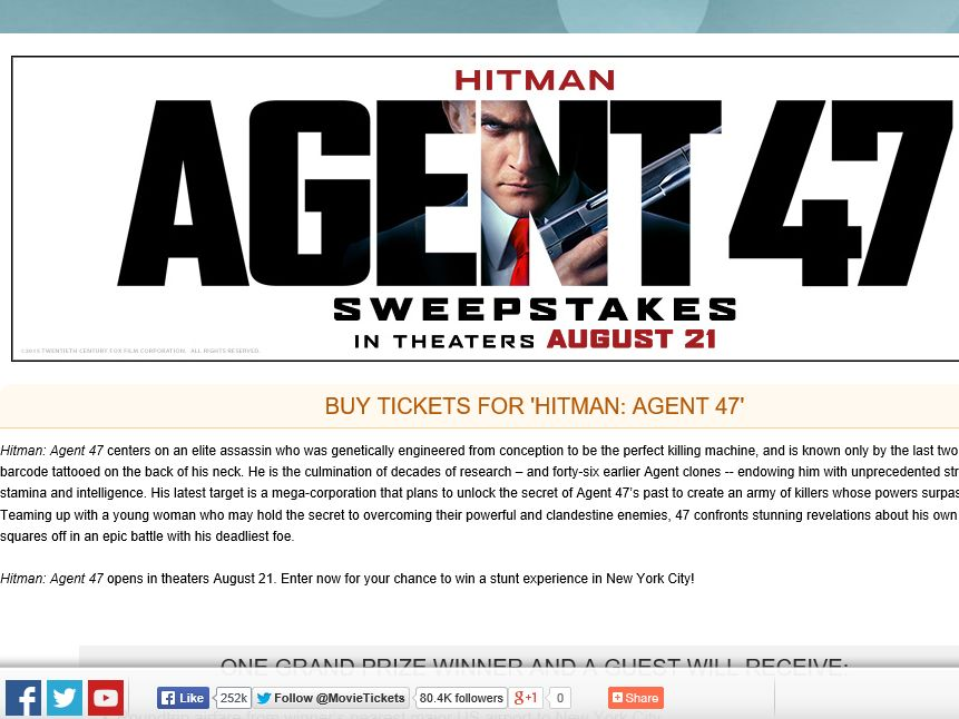 "The MovieTickets.com ""Hitman: Agent 47"" Sweepstakes"