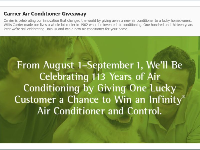The Carrier Infinity System 2015 Sweepstakes