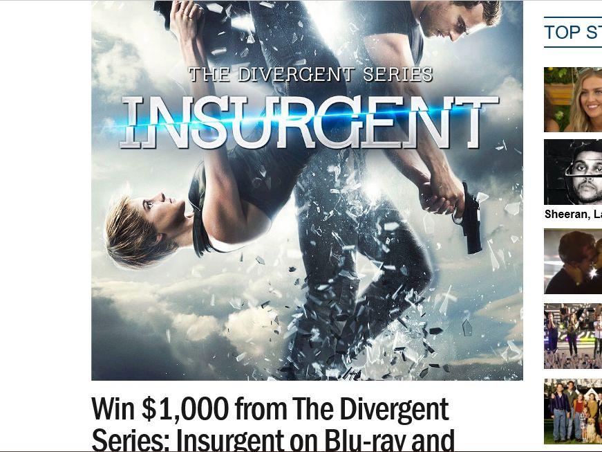 Ryan Seacrest's Insurgent $1,000 Sweepstakes