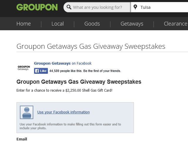 Groupon Getaways Gas Giveaway Sweepstakes