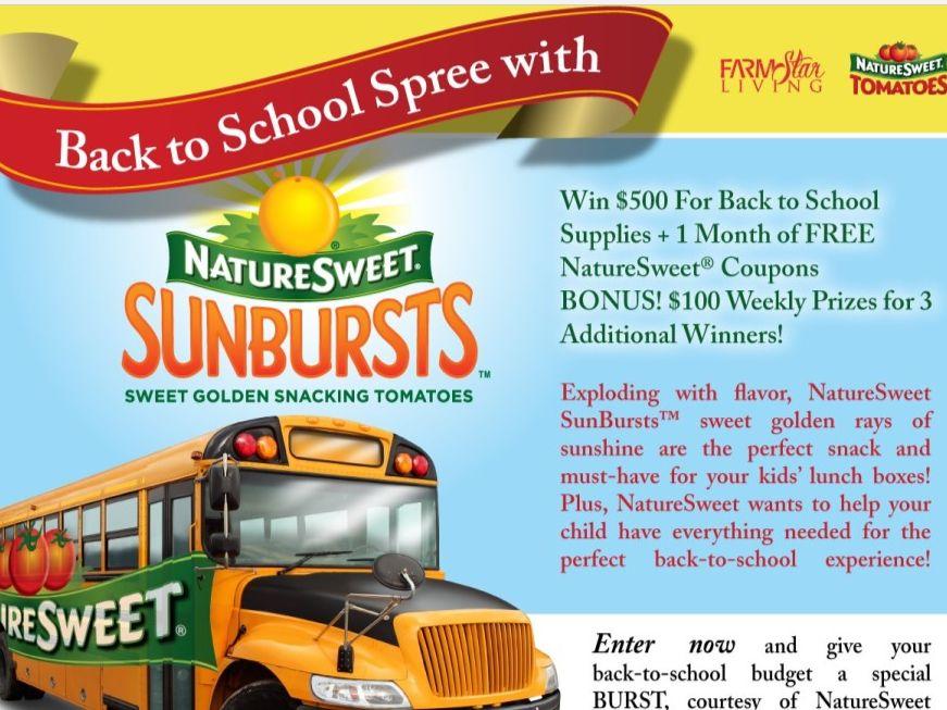 NatureSweet SunBursts Back to School Spree Sweepstakes