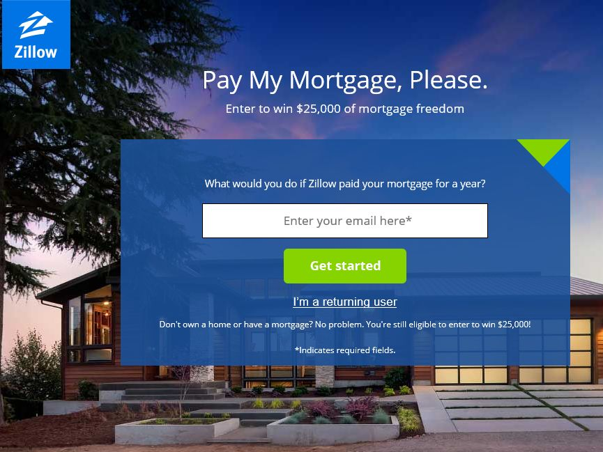 Zillow Pay My Mortgage, Please Sweepstakes