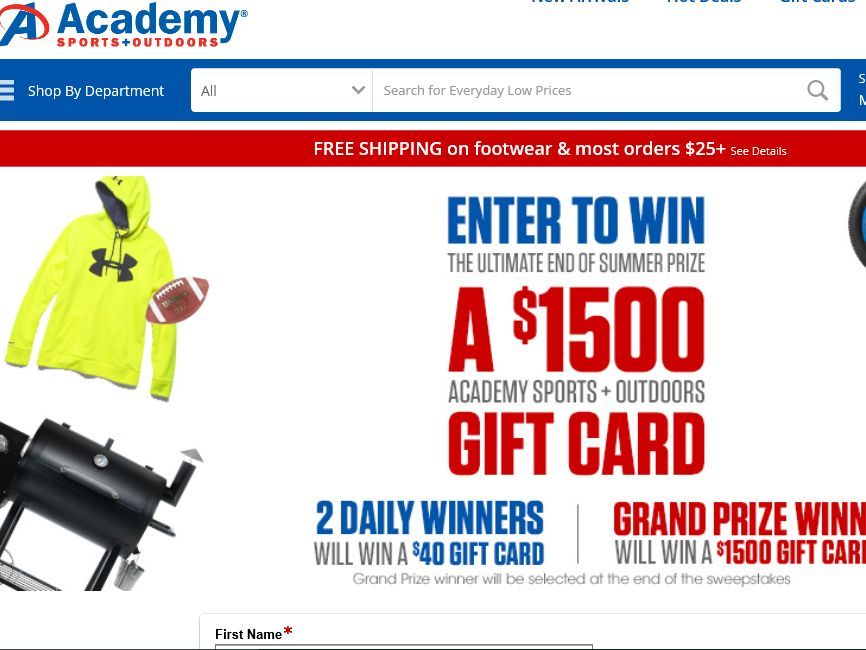 Academy End of Summer Sweepstakes