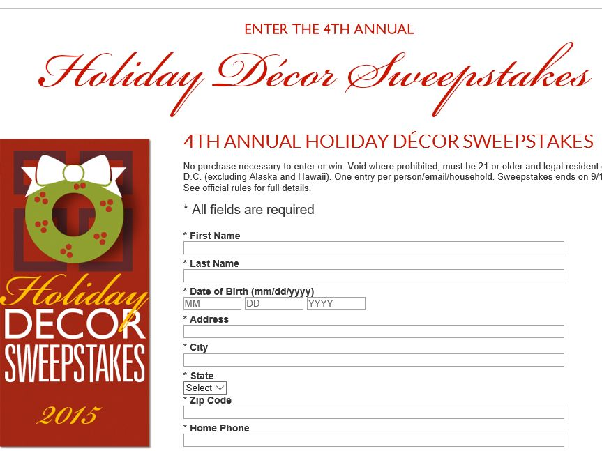 """The Country Door """"Holiday Décor"""" Sweepstakes"""