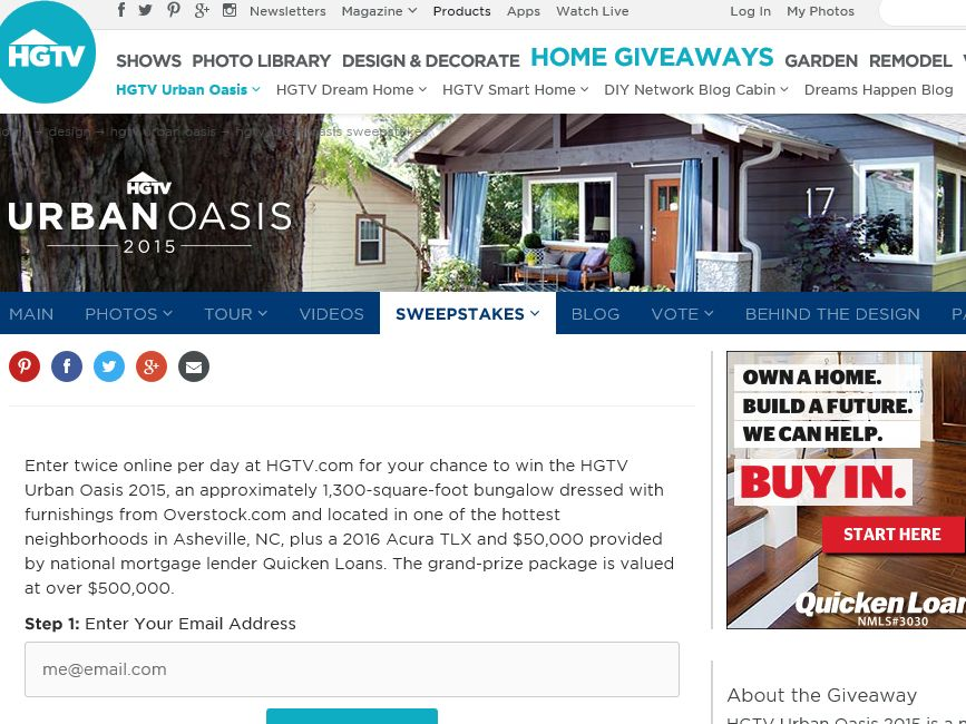 HGTV Urban Oasis Giveaway 2015 sweepstakes