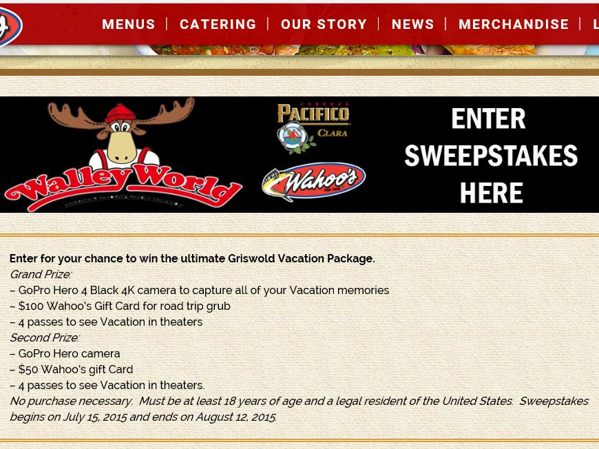 Wahoo's Griswold Vacation Package Sweepstakes