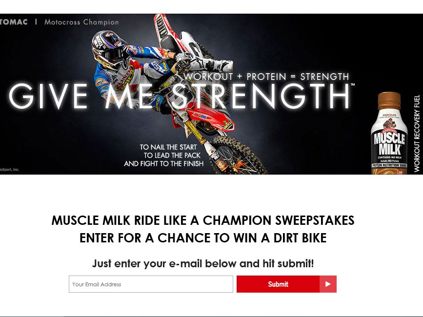 The Cytosport Muscle Milk Ride Like a Motocross Champion Sweepstakes