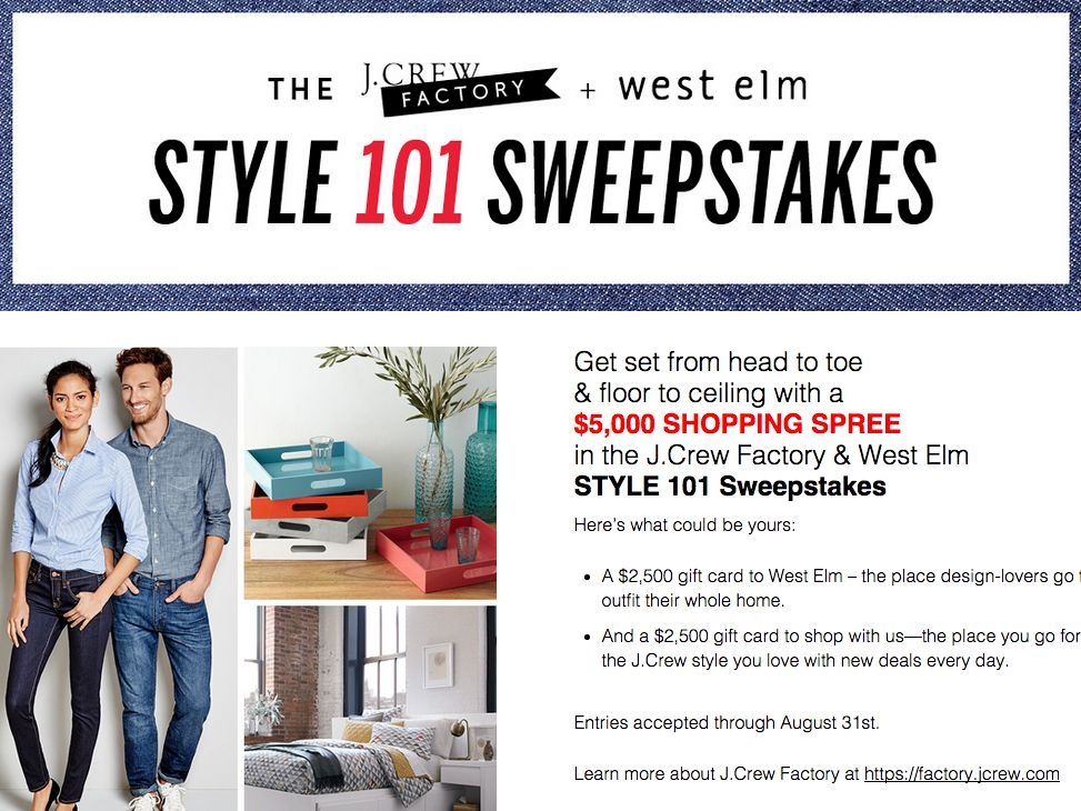 J.Crew Factory & West Elm STYLE 101 Sweepstakes