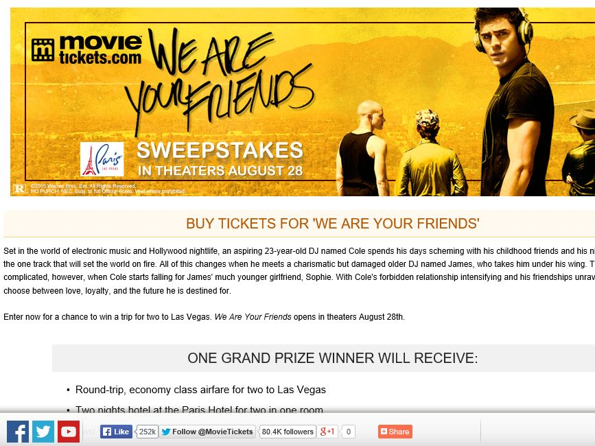 "MovieTickets.com's ""We Are Your Friends"" Sweepstakes"