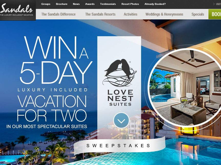 """The """"Sandals Love Nest Suites & Beaches Suites"""" Sweepstakes"""