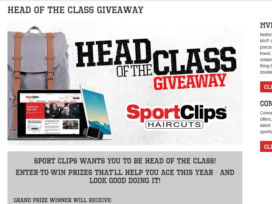 """The Sport Clips """"HEAD OF THE CLASS"""" Sweepstakes"""