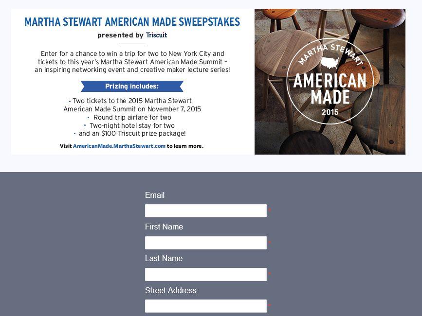 The Martha Stewart American Made Sweepstakes