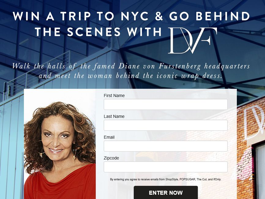 """The """"Behind the Scenes of DVF Giveaway"""" Sweepstakes"""