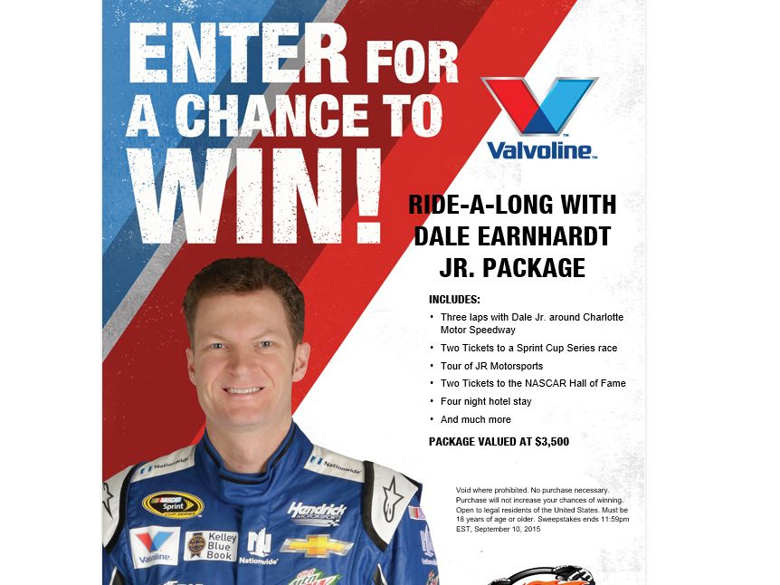 Valvoline Ride-A-Long with Dale Jr Package Sweepstakes