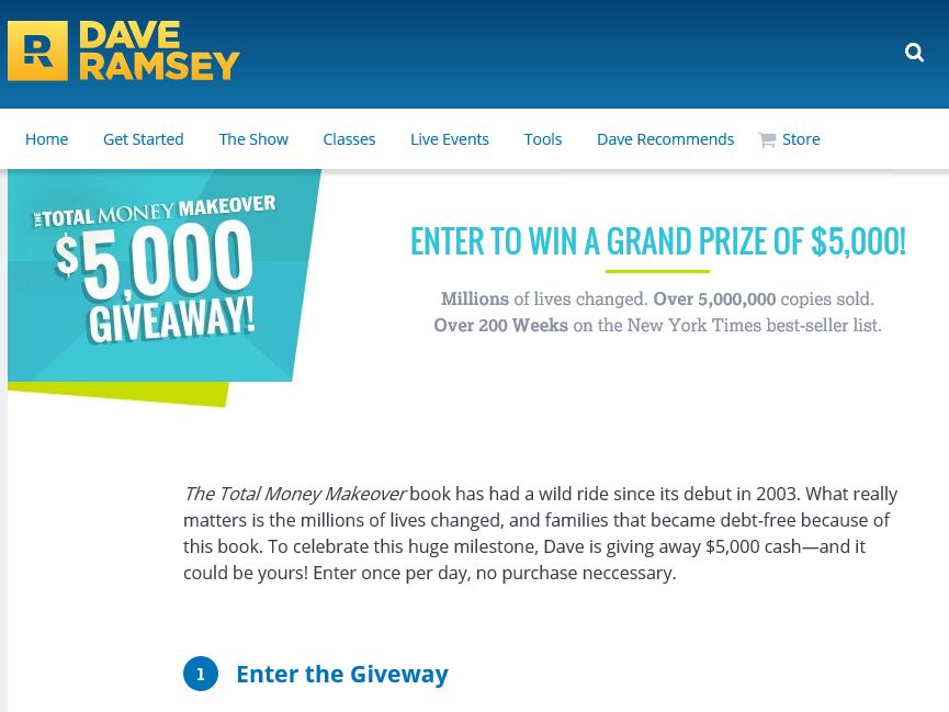 The Dave Ramsey Total Money Makeover $5,000 Giveaway