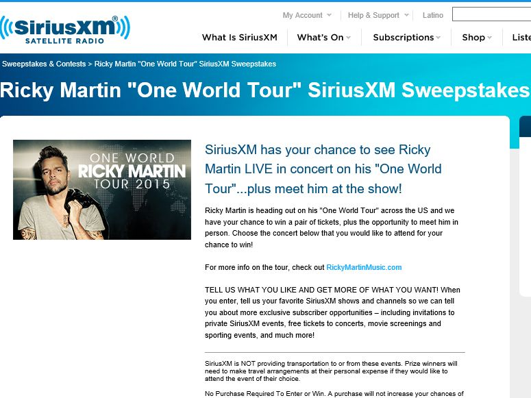 "Ricky Martin ""One World"" Tour 2015 Sweepstakes"