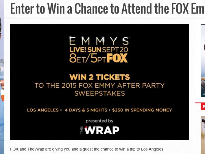 2015 FOX Emmy After Party Sweepstakes