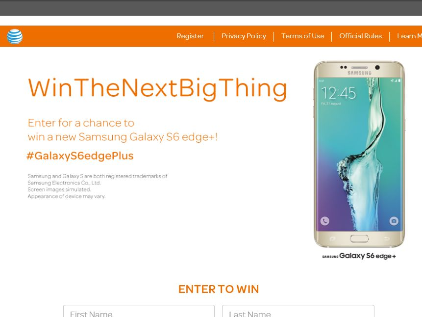 The AT&T Samsung Galaxy S6Edge+ Giveaway Sweepstakes