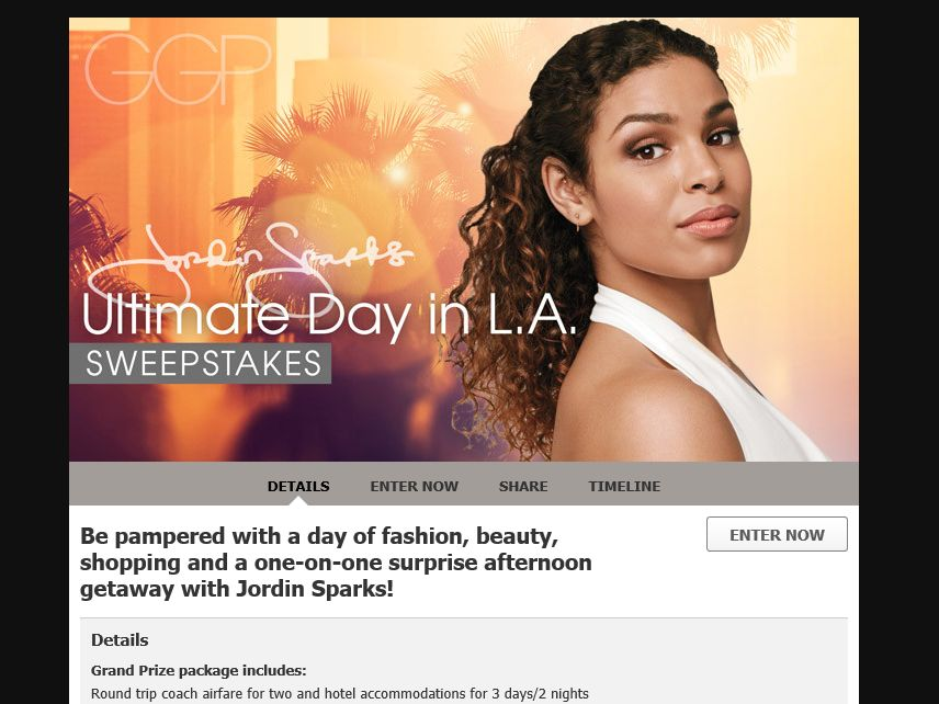 The Ultimate Day in L.A. with Jordin Sparks Sweepstakes