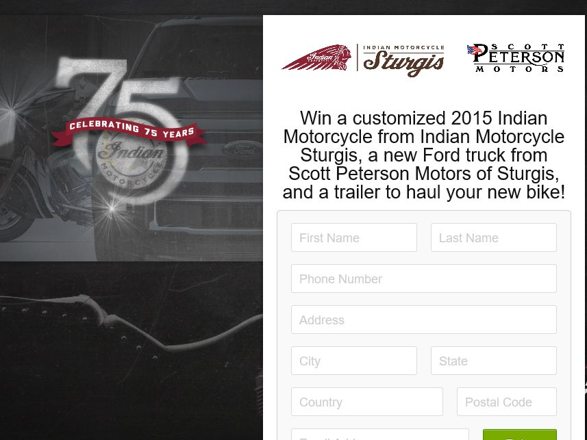 Indian Motorcycle Sturgis/Scott Peterson Motor of Sturgis Sweepstakes